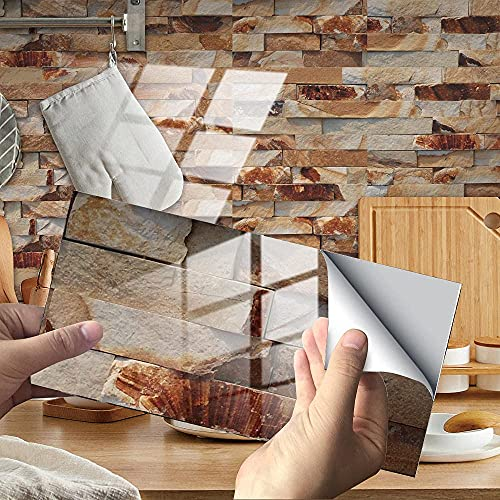 BBNBY Azulejos Adhesivos para Azulejos café Beige India Azulejos autoadhesivos de PVC Azulejos de Pared autoadhesivos Resistentes al Calor Azulejos de Cocina Adhesivos para Azulejos de baño Azulej