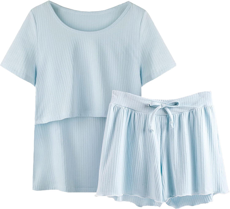 Umeyda Indefinitely Rapid rise Women's Breastfeeding Maternity Nursing Pajamas Sets