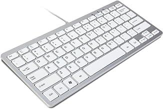 TRIXES Mini Teclado con Cable USB Teclado Delgado Plateado y Blanco – Conectar y Listo - Compacto y Duradero - Adecuado para Ordenador de Mesa, Apple Mac, Windows, Ordenador Portátil, etc.