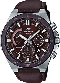 EDIFICE Men's Automatic Wrist Watch chronograph Display and Leather Strap, EFR563BL-5A