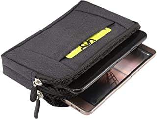 DFV mobile - Multipurpose Horizontal Belt Case 2 Compartments Zipper for HTC Desire 310 D310w / Desire V1 - Black (16,5x 9cm)