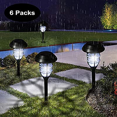 Solar Pathway Outdoor Lights, Solar Powered Garden Yard Lights 6-Pack, Waterproof LED Solar Landscape Path Lights for Walkway, Pathway, Lawn, Sidewalk and Driveway Auto On/Off