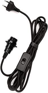 Portalámparas E14 con interruptor, casquillo de baquelita, negro con cable de tela de 4,5 metros, kit de lámpara colgante con cable y enchufe, para casa de granja, PEBA