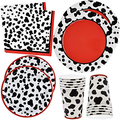 Dalmatians Party Supplies Set 24 9' Plates 24 7' Plate 24 9 Oz Cups 50 Luncheon Napkins Dalmation Dog Animal Puppy Paw Birthday Party Decorations for Boys Girls Kids Disposable Tableware Paper Goods