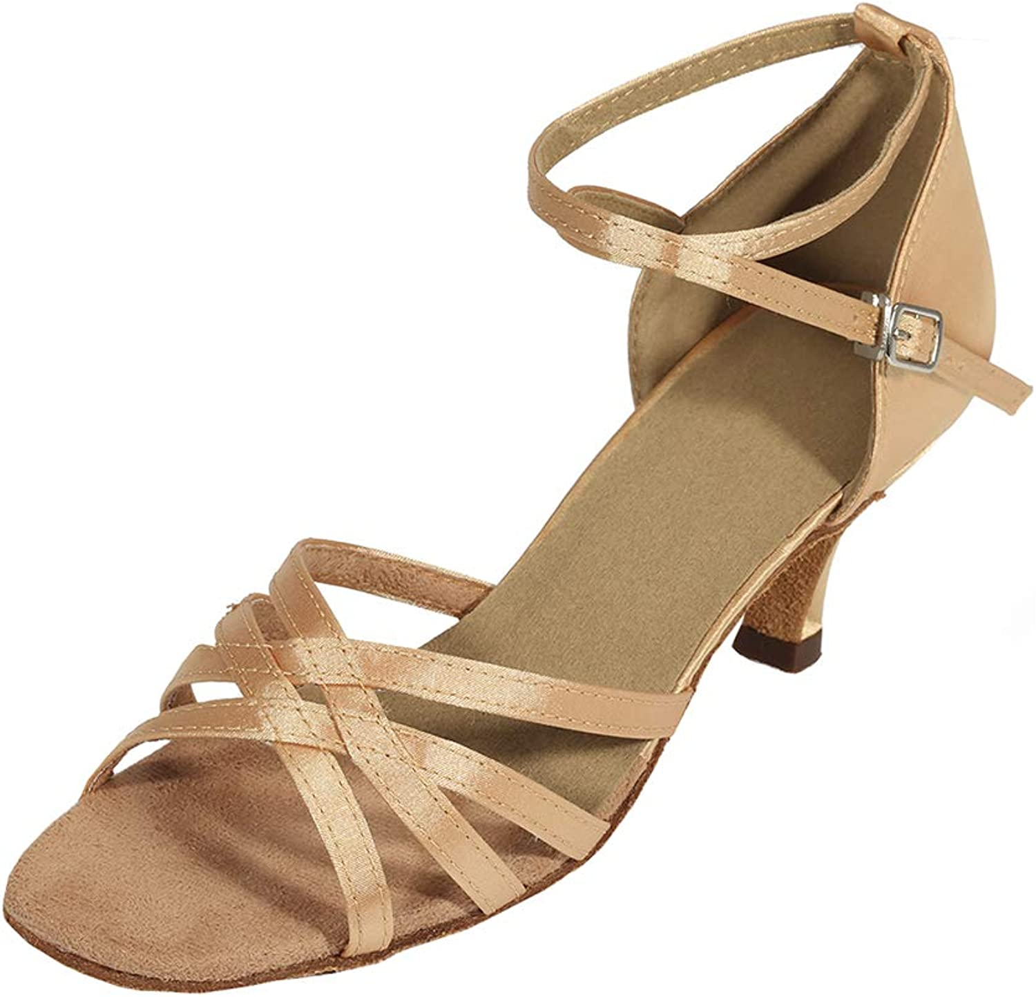 Cygnus Women Dance shoes Latin Salsa Tango Practice Ballroom Dance shoes with 2.5  Heel Suede sole 801 Brown