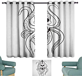 Mannwarehouse Nautical Decor Collection Soft Curtain Skull Octopus and Anchor Pirate Ocean Classic Tattoo Style Artwork Pattern for Living, Dining, Bedroom (Pair) 55