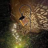 Hopeful Lanterna solare da cortile esterno Con staffa metallica da 80 cm, interruttore induttivo automatico impermeabile, 50 luci a led Adatto per cortile, esterno, balcone