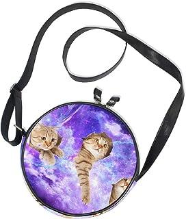 Ahomy Bgalaxy Nebula Starry 3D Katze Damen Fashion Crossbody Tasche Umhängetasche