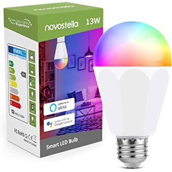 Novostella 13W 1300LM Smart LED Light Bulbs, WiFi RGBCW 2700K-6500K Dimmable Multicolor Bulb, A19 E26, 120W Equivalent Color Changing Bulb, No Hub Required, Compatible with Alexa, 1 Pack