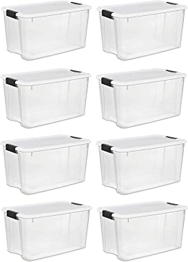 Sterilite 70 Quart Ultra Latch Storage Box with White Lid & Clear Base (8 Pack)