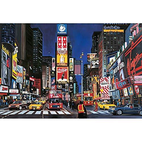 DJHOLI 300 500 1000 Atractivos famosas piezas de la serie - Times Square Perfectamente rompecabezas de madera del piso de Puzzles Adultos Niños, Juguetes juego intelectual, entre padres e hijos juguet