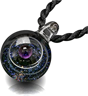 Unique Design Glass Universe Ball Necklace Galaxy Planet Pendant Nebula Ribbon Vortex Cosmos Series