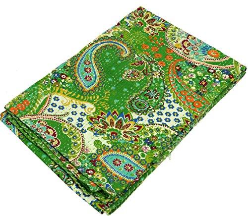 GURU SHOP Quilt, Steppdecke, Tagesdecke Bettüberwurf, Besticktes Tuch, Indischer Bettüberwurf, Tagesdecke - Muster 37, Grün, Baumwolle, 230x140 cm, Steppdecken und Quilts