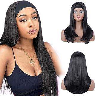BOGSEA Straight Headband Wigs for Black Women Long Black Synthetic Glueless Wig with Headband Half Wig Natural Looking Hai...