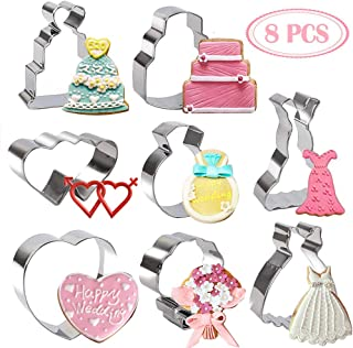 BAKHUK 8pcs 3 Inches Wedding Cookie Cutters Set, Stainless Steel Cutters for Baby Shower Wedding Birthday Decoration