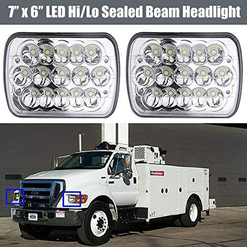 LED Headlight Conversion Kit 7X6 5x7 Inch Sealed Beam Lights Bulb for Ford Truck F550 F600 F650 F700 F750, Replace H6014 H6052 H6054 Super Bright 6000K White High Low Dual Beam (Package of 2PCS)