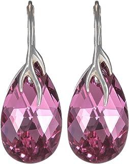Crystal Diva Women's Silver Pink Swarovski Elements Earrings