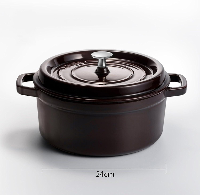 WHS Cookware Soup Topf Eintopf Topf Stiel Gusseisen 24CM verdickte verdickte verdickte handgemachte Mode schrittweise Emaille Topf Induktionsherd mit Muttertag Vatertag Geschenk (Farbe   SCHWARZ) B07JMVF46J d8c8e4