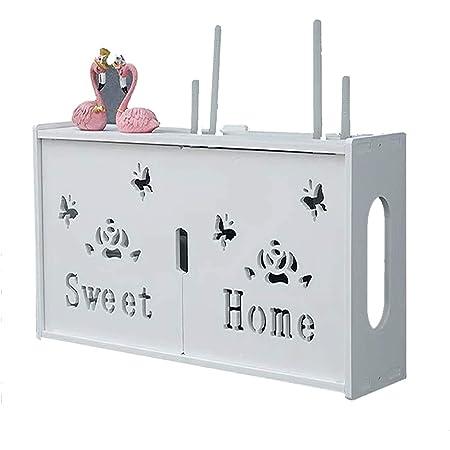 zhouxi PVC Multifuncional Set-Top Box Rack Router WiFi Caja Almacenamiento Gestión Alambre Caja Ranura,Salón Pared Router WiFi Plataforma Set-Top Box Flotante Estante DecoraciónE