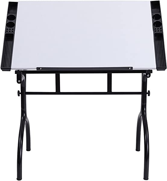 GHP White MDF Steel Adjustable Tabletop Drafting Table With 4 Removable Side Trays