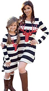 WensLTD Family Matching Mom&Me Christmas Deer Stripe Dress Family Outfits Clothes