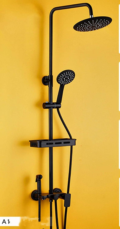 Schwarz Duschsystem Duschzubehr Kupfer Viergang-Brausenmischer