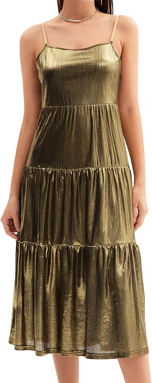 GRACE KARIN Womens Long Metallic Shiny Party Dress Spaghetti Strap Tiered Dresses