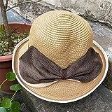 mlpnko Gorro de Doble Uso Que se encrespa Sombrero de Viento británico Domo Femenino Sombrero de Playa Grande Sombrero Protector Solar Código de Color Caqui Profundo