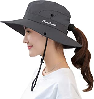 HGGE Women's Summer Mesh Wide Brim Sun UV Protection Hat with Ponytail Hole
