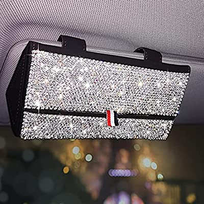 DKIIGAME Bling Bling Sunglass Holder for Car,PU Leather with Crystal Diamond Visor Sunglass Case,Automotive Eyeglasses Organizer Boxes Visor Accessories (Black)