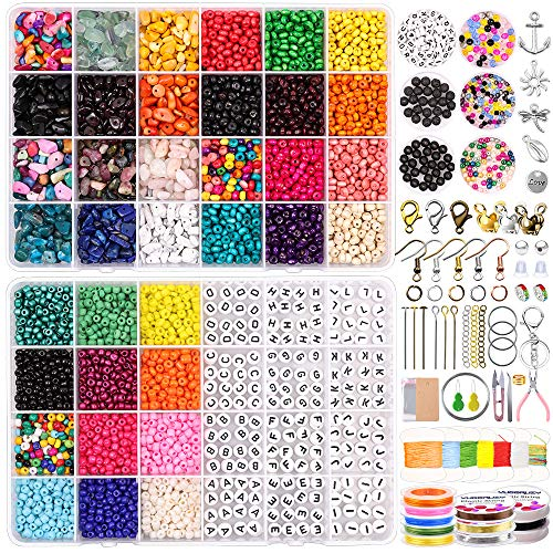 Jewelry Making Supplies Kit for Adult Includes Glass Seed Beads,Letter Beads,Wooden Beads with Findings,Charms,Tools and Elastic Wire for DIY Earrings,Friendship Bracelet,Necklace Making and Repair