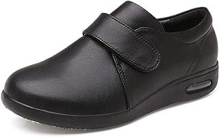 B/H Chaussures DiabéTiques Hommes Chaussons,Automne et Hiver Chaussures en Cuir d'âge Moyen et âgé, Chaussures de Papa Cha...
