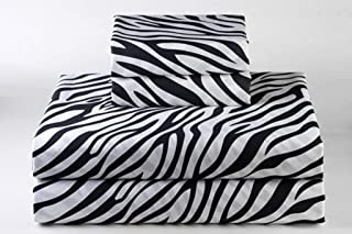 Bedding Sheets 4-Piece Set, Zebra Print Twin Size 18