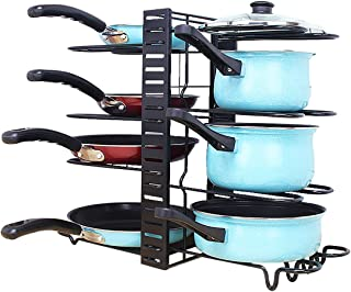 Pot and Pan Rack Organizer: 8 Tiers Pot Lid Holders & Pan Rack Cookware Organizer Adjustable Height with 3 DIY Methods for...