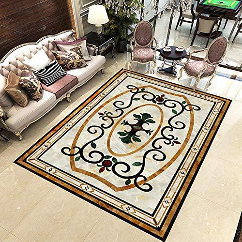Shuangklei op maat 3D vloerstickers marmer tapijt bloem patroon vloer muurschildering huisdecoratie waterdichte zelfklevende woonkamer vloer behang 120 cm.