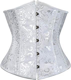 مشد كورسيه بتصميم فينتاج وستيمبنك اسفل الصدر بمقاس كبير، لنحت الخصر والصدر وشد البطن للنساء أبيض جاكارد Large