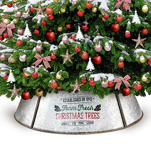 KIBAGA Farmhouse Christmas Tree Collar for Large Trees - Authentic Easy Set Up 35' Tree Ring - Beautiful Galvanized Christmas Tree Skirt Decorates Your Home for The Holidays