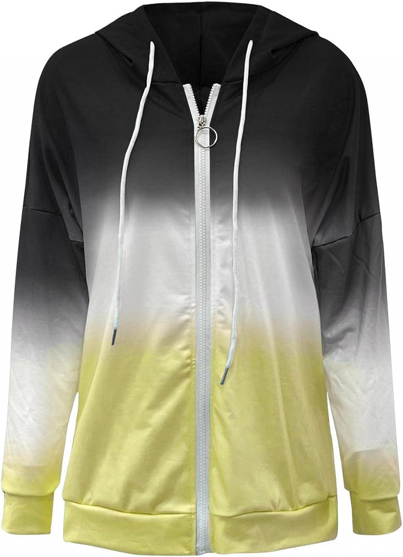 Fudule Zip Up Hoodies for Women, 2021 Fashion Lightweight Full-Zip Outerwear Casual Long Sleeve Shirts Color Block Coat
