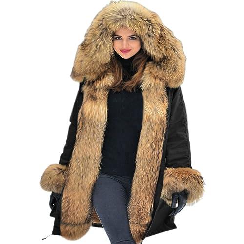 Roiii® Mujeres de Mujer de Invierno de Abrigo Chaqueta Fuerte Parka con Pelo sintético con
