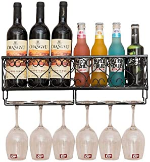 L.HPT Range-Bouteilles, Supports muraux en métal, montés sur vin Gobelets en Verre à Champagne, Support pour Verres à Pied...
