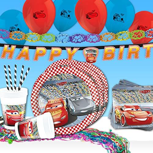 Juego de decoración para fiestas de cumpleaños infantiles, juego completo de 57 piezas con el coche de carreras Lightning McQueen en la vajilla de fiesta, las servilletas, los globos, etc.