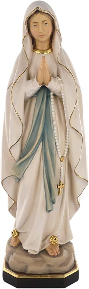 Ferrari & arrighetti, statua della madonna di lourdes, in legno dipinto a mano, 40 cm D1051_540