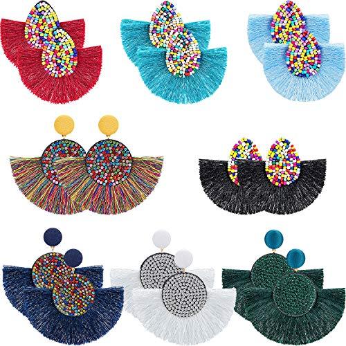 Hicarer 8 Pairs Fan Tassel Earrings Bohemian Tassel Hoop Earrings Beaded Fringe Drop Earrings Colorful Rhinestone Dangle Earrings for Women Girls
