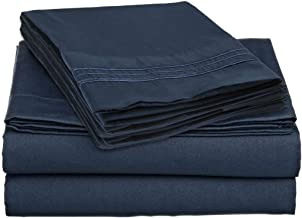 Brils-ri Premium Bed Sheets Luxury Resort Hotel 1800 Collection Sheet Sets Percale Microfiber Fabric Linen Deep Pocket Soft Cooling Non-Wrinkle Dryer Safe Fade Resistance King Blue