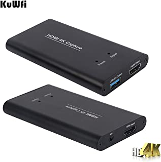 KuWFi HD 4K Video Capture Device Card HDMI to USB3.0 HD Video Converters Game Streaming Live Stream Broadcast 1080P with MIC Input for OBS/Vmix/Wirecast/skype