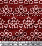 Soimoi Rot Kunstseide Stoff Damast Mandala Stoff Meterware