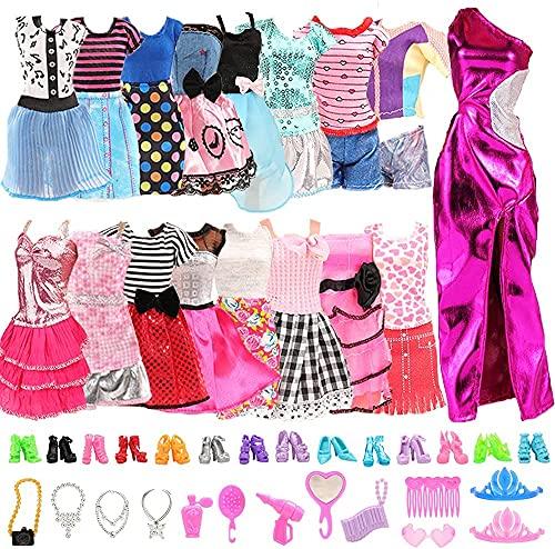 Miunana 10 Piezas Vestido Fashion Falda Mini Fiesta Ropas Casual + 10 Zapatos + 10 Accesorios + como Regalo para 11.5 Pulgadas 28 -30 CM Muñeca