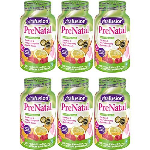 Vitafusion PreNatal Dietary Supplement, Lemon & Raspberry Lemonade Flavors 90 ea (Pack of 6)