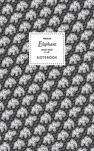 Elephant Notebook - Ruled Pages - 5x8 Notizbuch - Premium (Black)