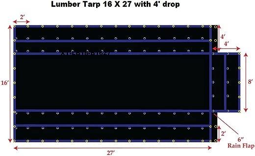 ✅FJYW MT17-LB15-B1627 Light Weight Lumber Tarp with 4′ Drop, 16′ x 27′, Black #Tools & Home Improvement Hardware